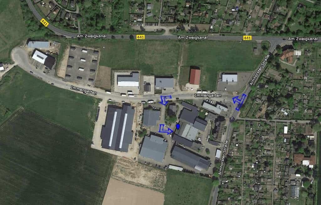Luftbild Anfahrtsbeschreibung Wigro Seelze Almhorster Straße 6